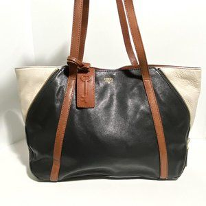 Fossil Gwen Shopper Tote Leather Expandable Zipper